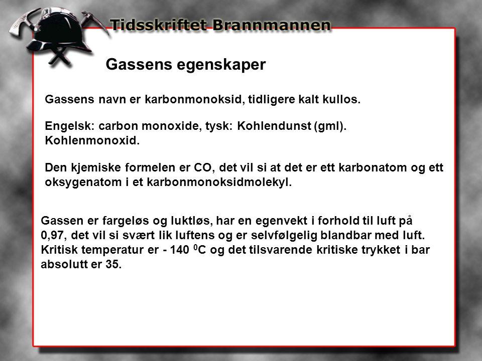 Gassens egenskaper Gassens navn er karbonmonoksid, tidligere kalt kullos. Engelsk: carbon monoxide, tysk: Kohlendunst (gml). Kohlenmonoxid.