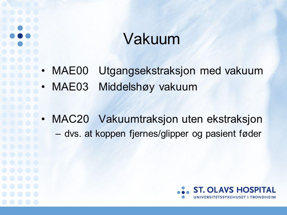 Vakuum MAE00 Utgangsekstraksjon med vakuum MAE03 Middelshøy vakuum