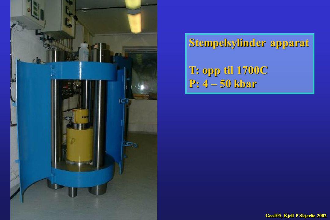 Stempelsylinder apparat T: opp til 1700C P: 4 – 50 kbar