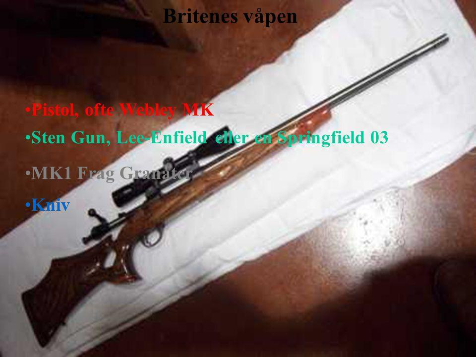 Britenes våpen Pistol, ofte Webley MK Sten Gun, Lee-Enfield