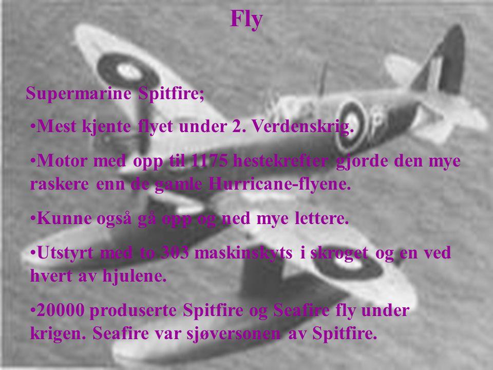 Fly Supermarine Spitfire; Mest kjente flyet under 2. Verdenskrig.