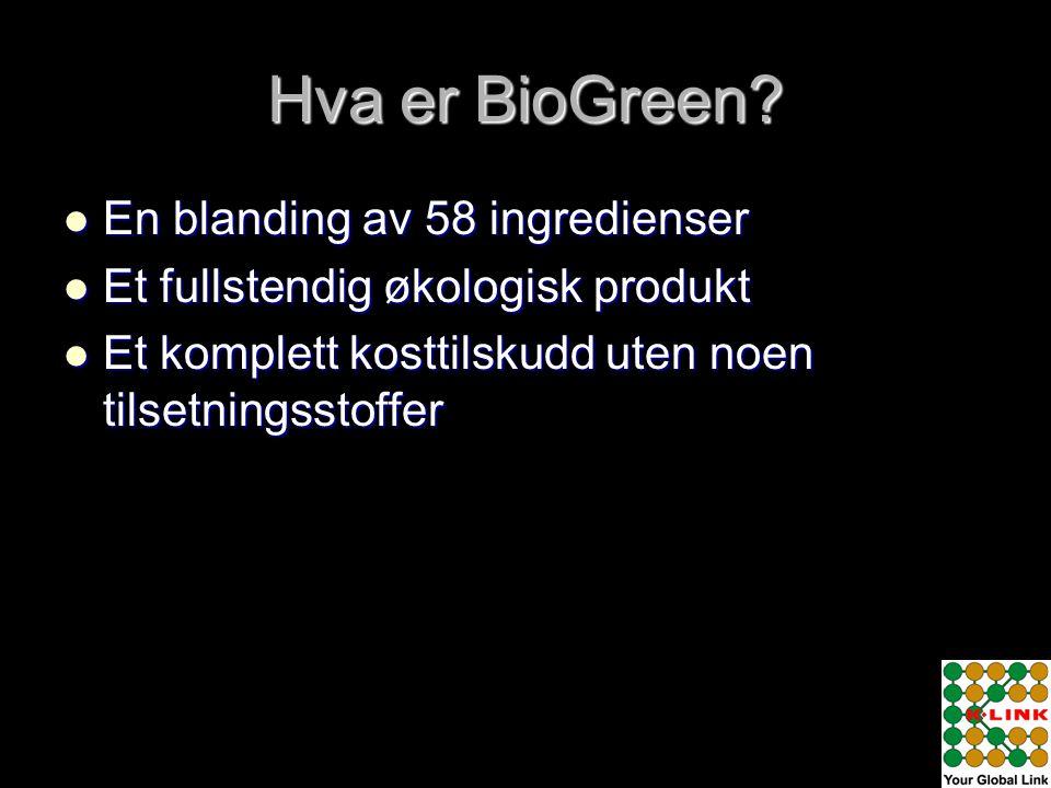 Hva er BioGreen En blanding av 58 ingredienser