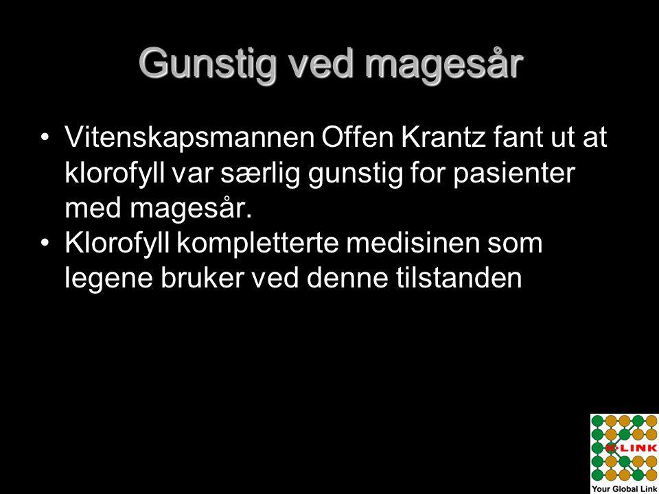 Gunstig ved magesår Vitenskapsmannen Offen Krantz fant ut at klorofyll var særlig gunstig for pasienter med magesår.