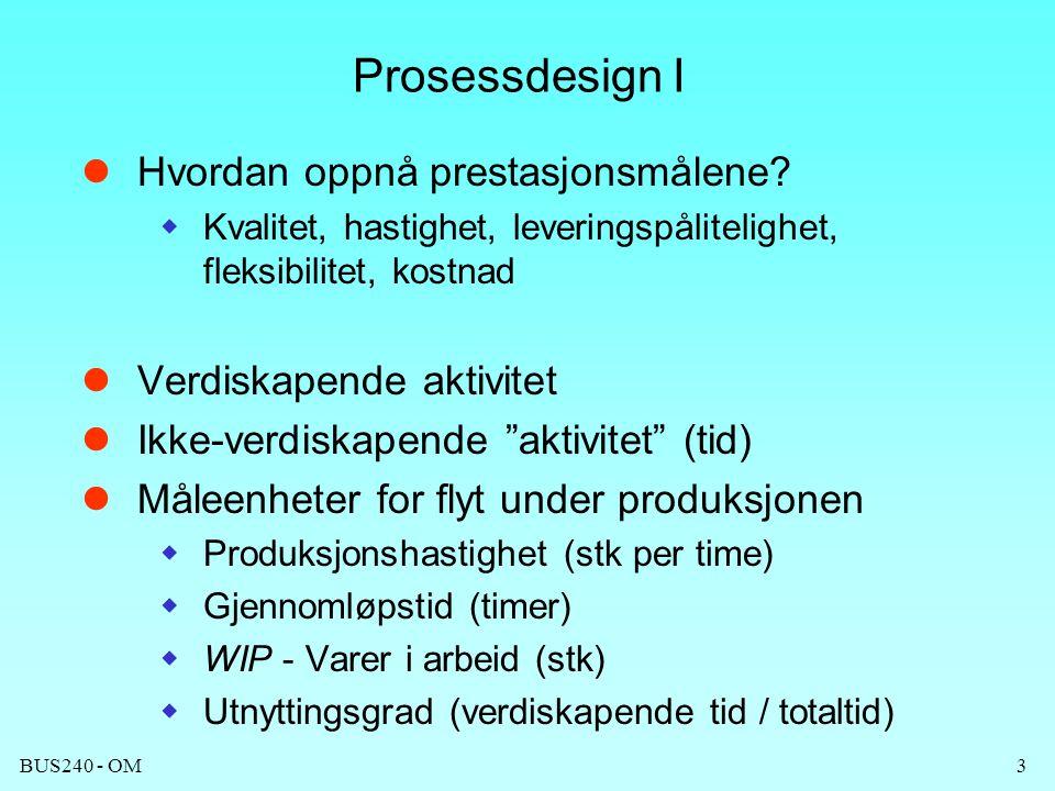 Prosessdesign I Hvordan oppnå prestasjonsmålene