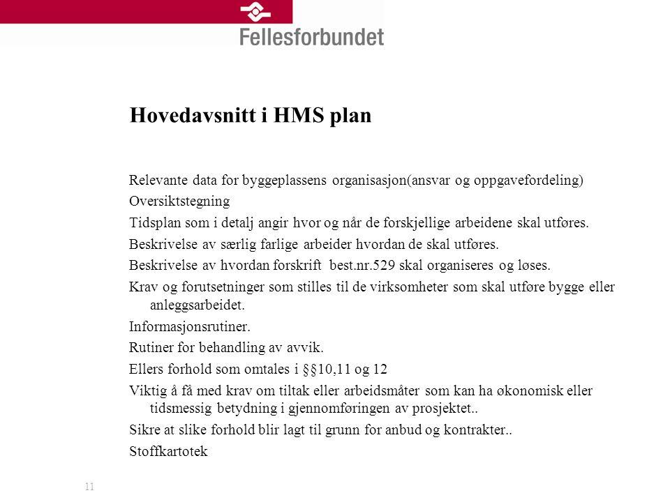Hovedavsnitt i HMS plan