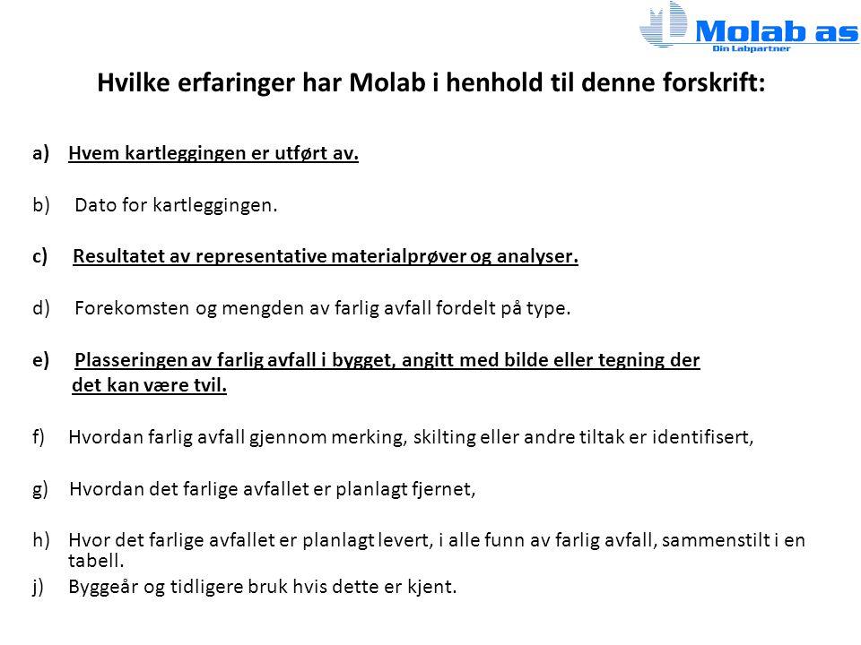 Hvilke erfaringer har Molab i henhold til denne forskrift: