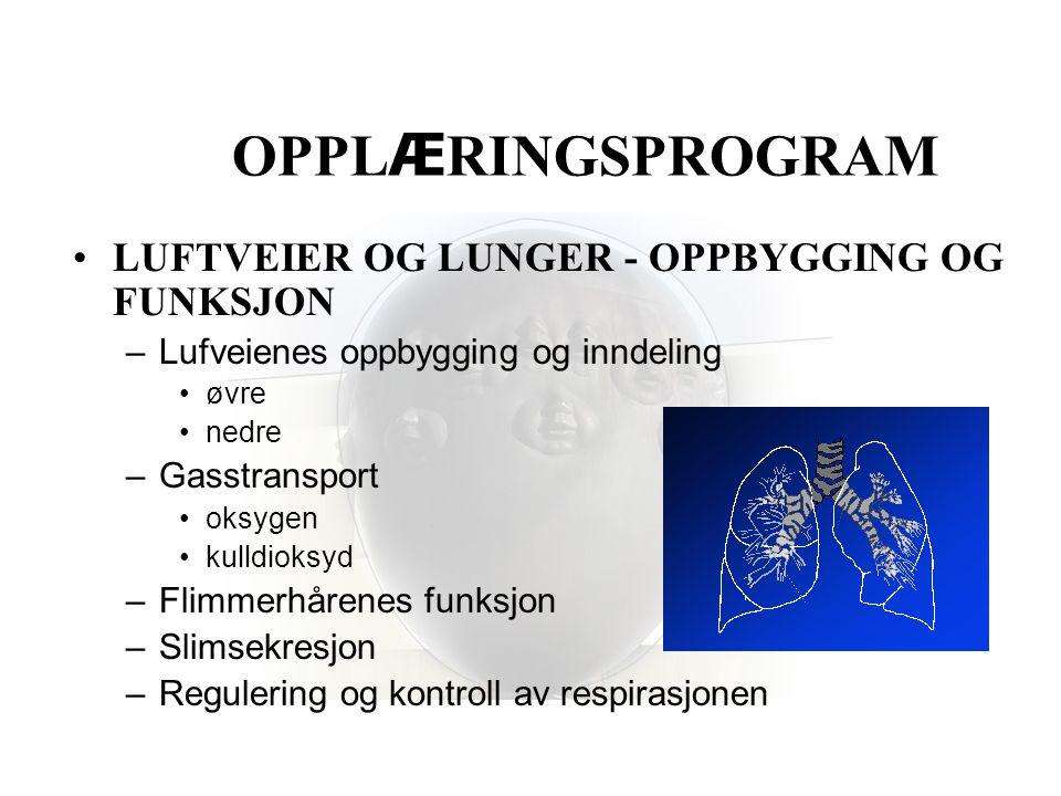 OPPLÆRINGSPROGRAM LUFTVEIER OG LUNGER - OPPBYGGING OG FUNKSJON