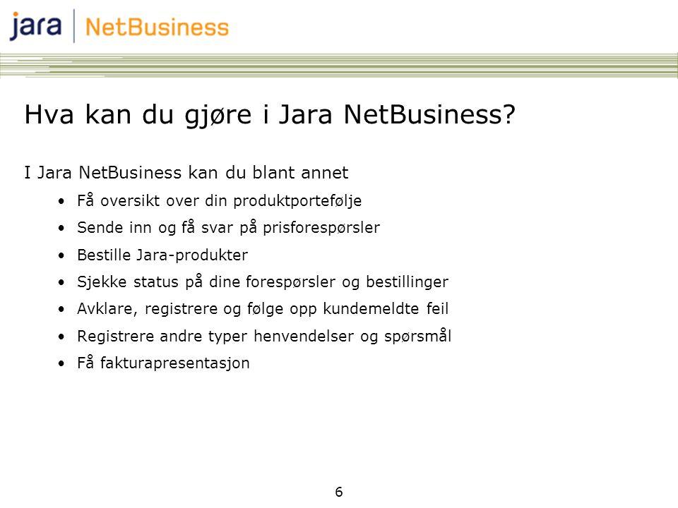 Hva kan du gjøre i Jara NetBusiness