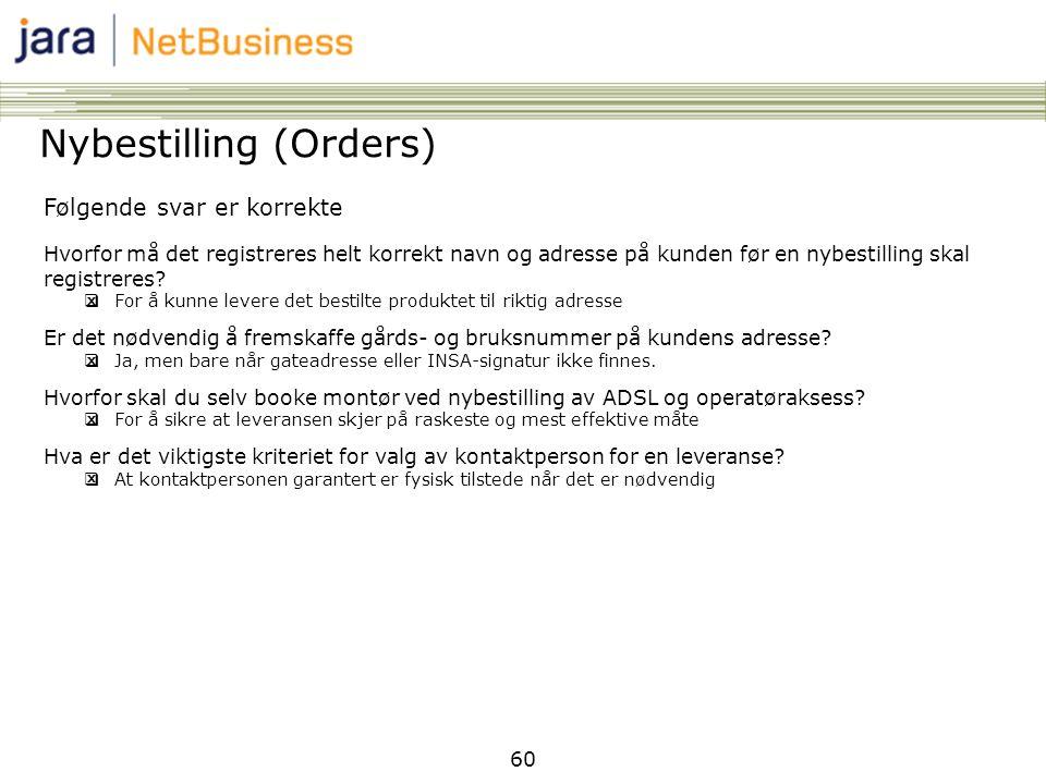 Nybestilling (Orders)