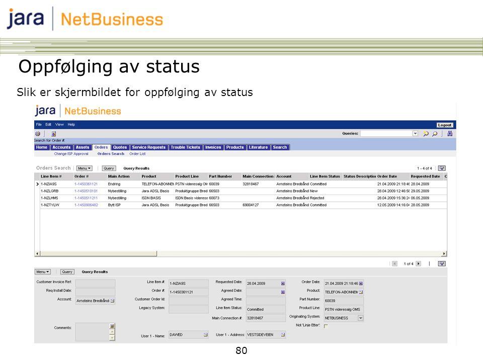 Oppfølging av status Slik er skjermbildet for oppfølging av status 80