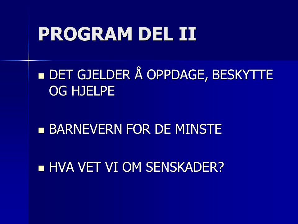 PROGRAM DEL II DET GJELDER Å OPPDAGE, BESKYTTE OG HJELPE