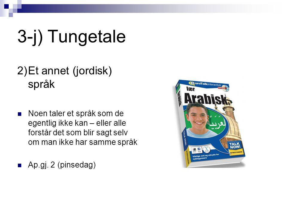 3-j) Tungetale 2) Et annet (jordisk) språk