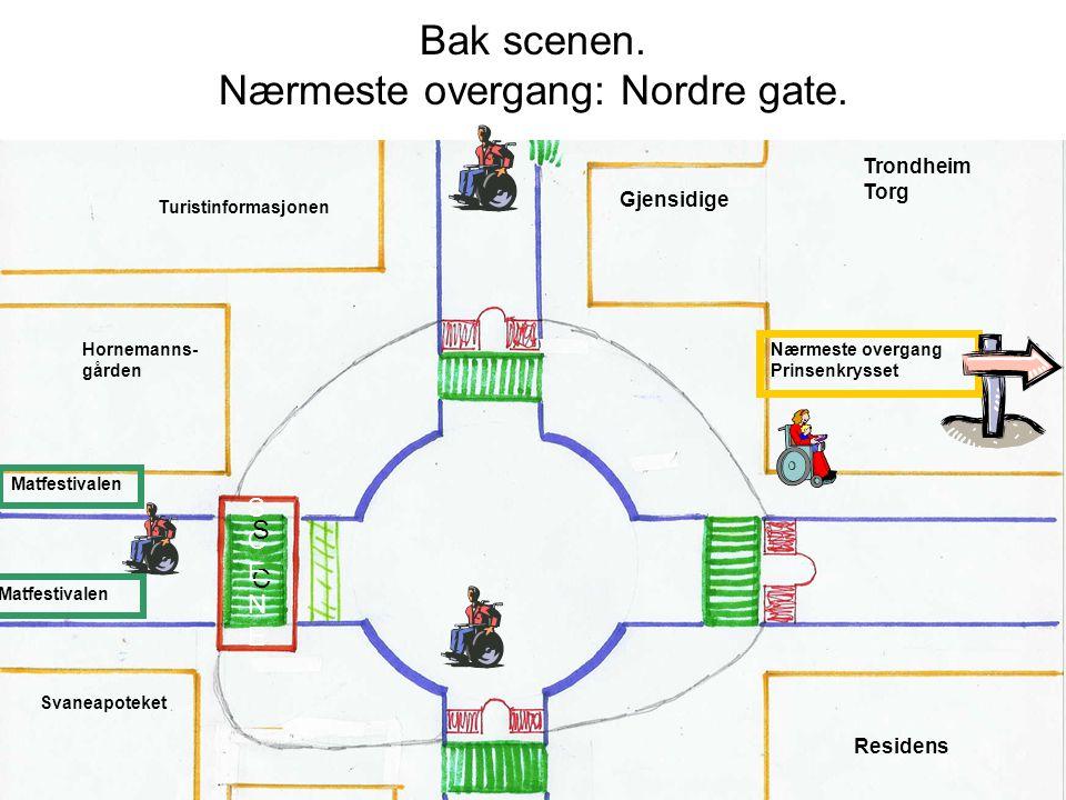 Bak scenen. Nærmeste overgang: Nordre gate.