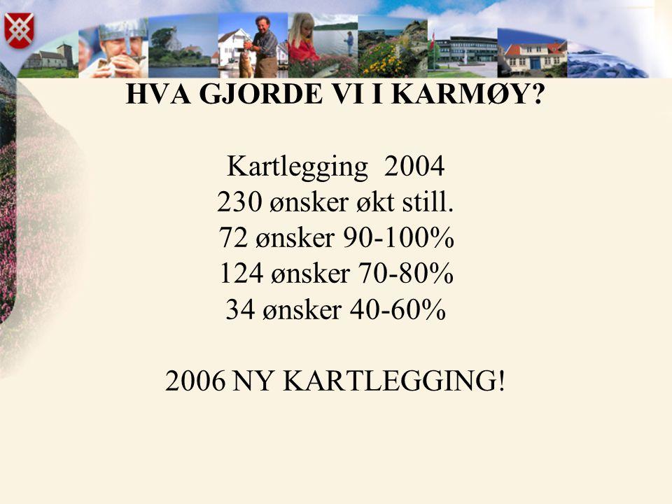 HVA GJORDE VI I KARMØY. Kartlegging 2004 230 ønsker økt still