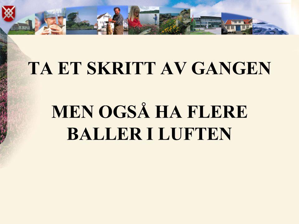 TA ET SKRITT AV GANGEN MEN OGSÅ HA FLERE BALLER I LUFTEN