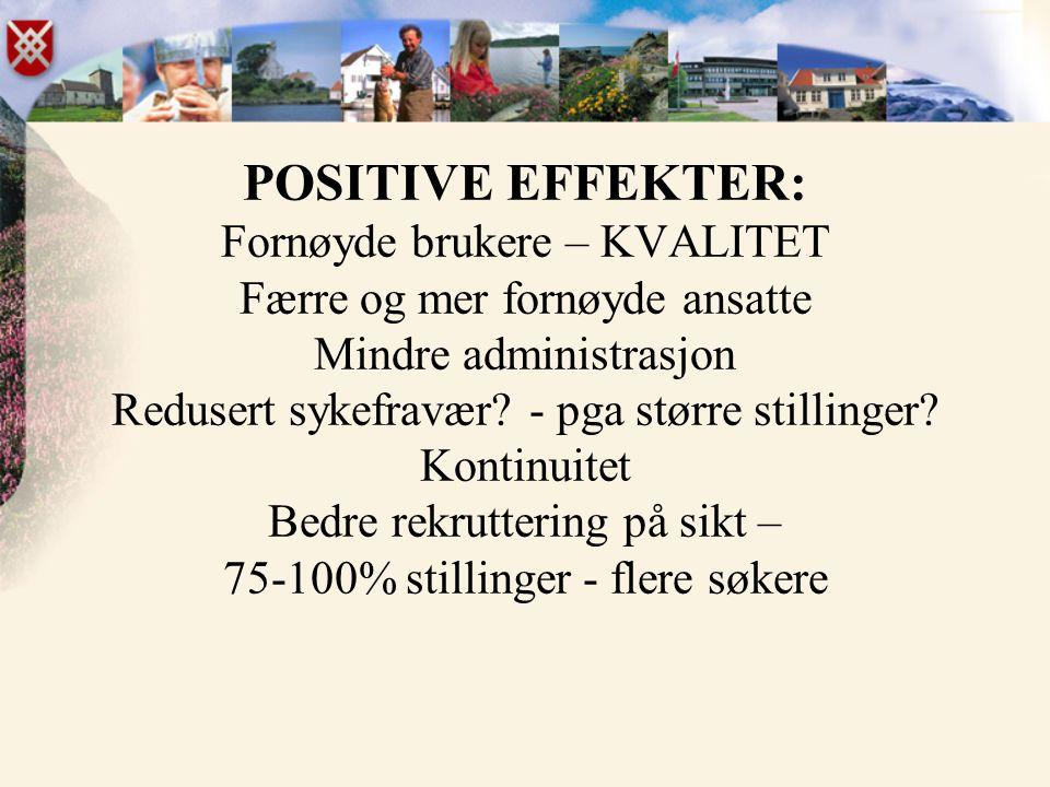 POSITIVE EFFEKTER: Fornøyde brukere – KVALITET Færre og mer fornøyde ansatte Mindre administrasjon Redusert sykefravær.