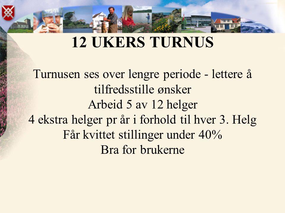 12 UKERS TURNUS Turnusen ses over lengre periode - lettere å tilfredsstille ønsker Arbeid 5 av 12 helger 4 ekstra helger pr år i forhold til hver 3.
