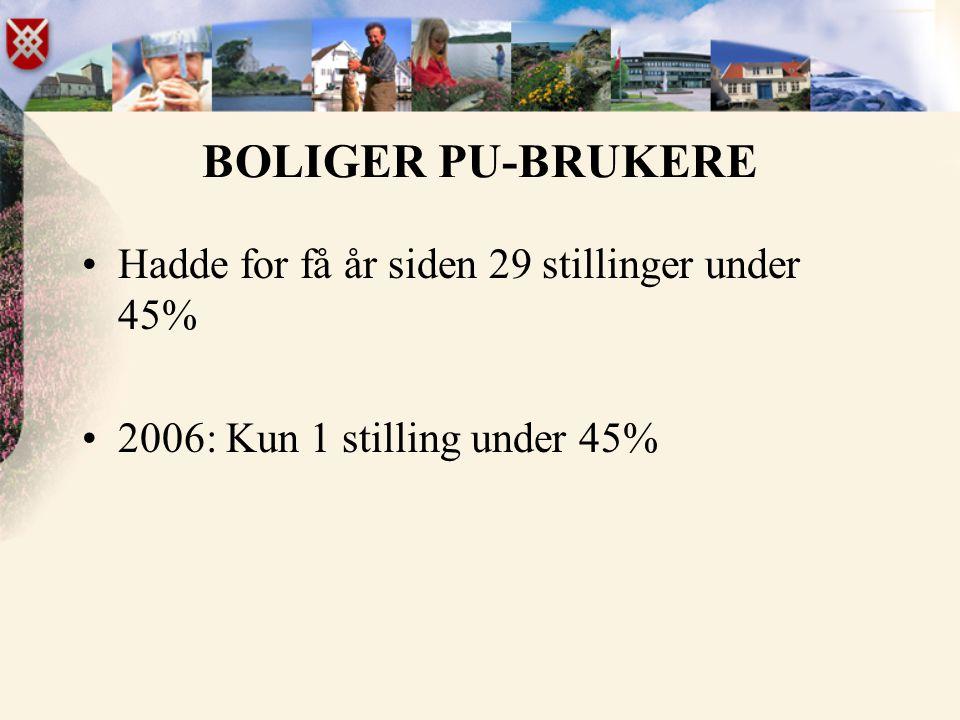 BOLIGER PU-BRUKERE Hadde for få år siden 29 stillinger under 45%