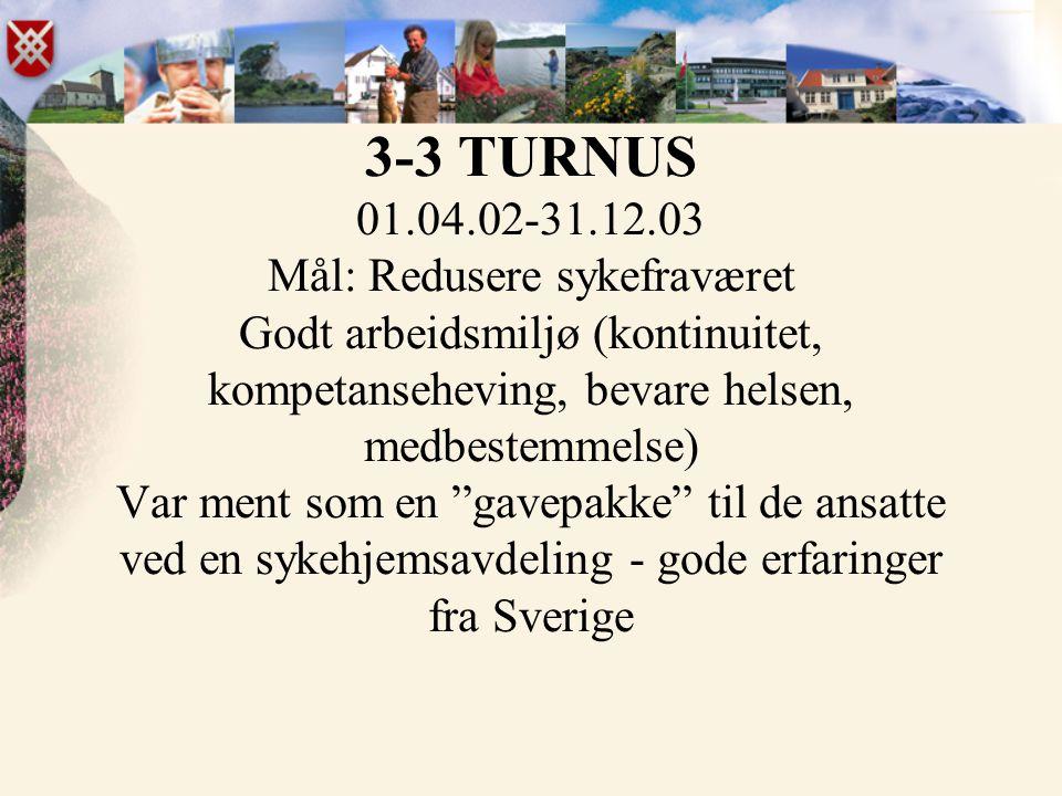 3-3 TURNUS 01.04.02-31.12.03 Mål: Redusere sykefraværet Godt arbeidsmiljø (kontinuitet, kompetanseheving, bevare helsen, medbestemmelse) Var ment som en gavepakke til de ansatte ved en sykehjemsavdeling - gode erfaringer fra Sverige