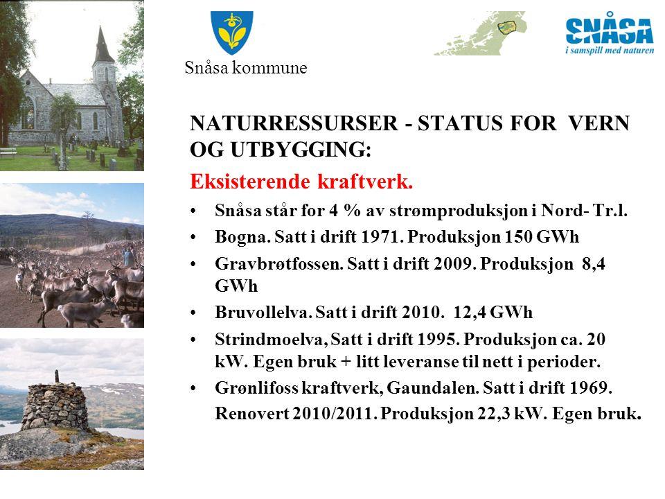 NATURRESSURSER - STATUS FOR VERN OG UTBYGGING: Eksisterende kraftverk.