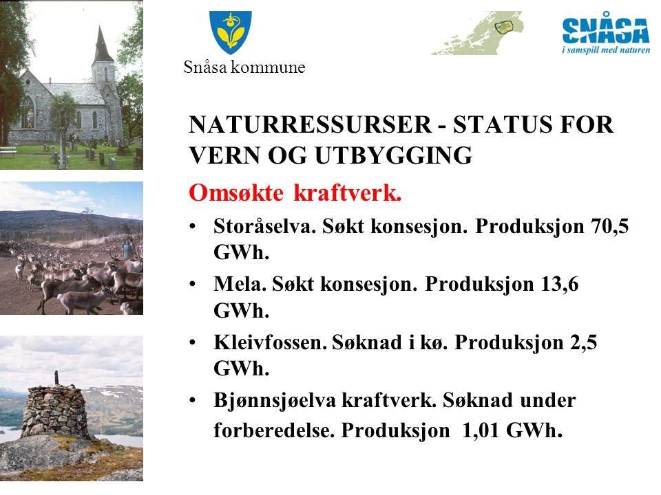 NATURRESSURSER - STATUS FOR VERN OG UTBYGGING Omsøkte kraftverk.