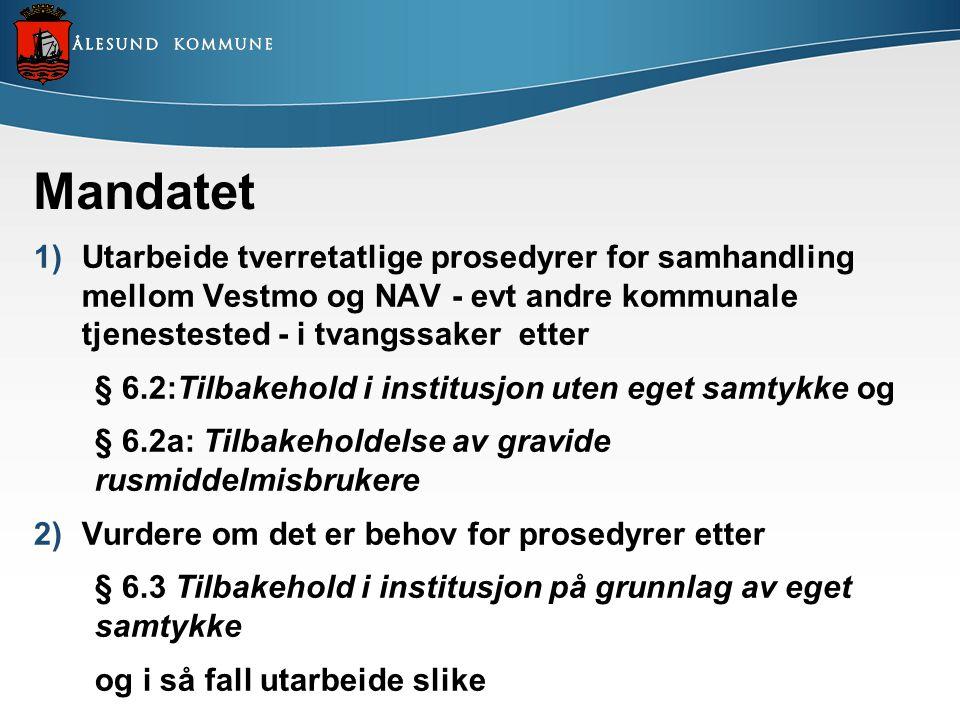 Mandatet Utarbeide tverretatlige prosedyrer for samhandling mellom Vestmo og NAV - evt andre kommunale tjenestested - i tvangssaker etter.