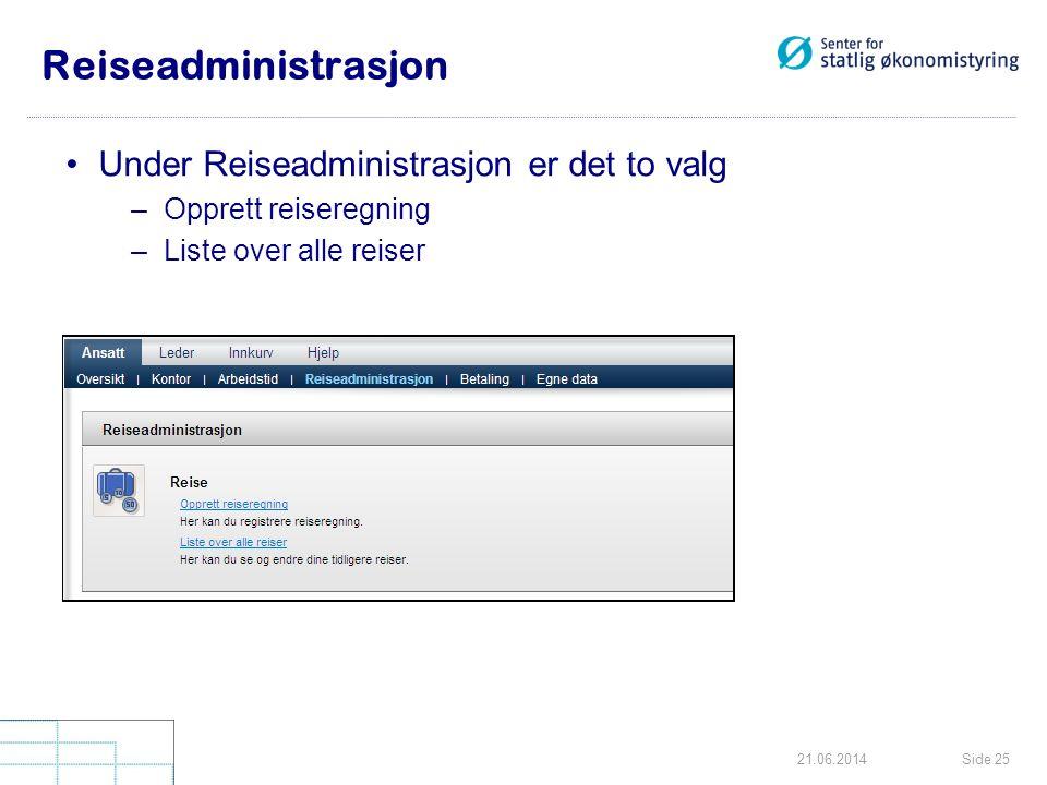 Reiseadministrasjon Under Reiseadministrasjon er det to valg