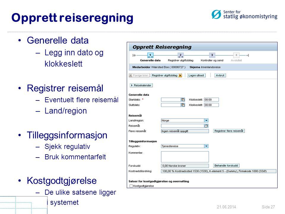 Opprett reiseregning Generelle data Registrer reisemål