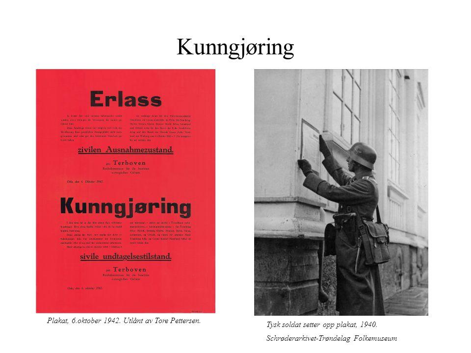 Kunngjøring Plakat, 6.oktober 1942. Utlånt av Tore Pettersen.
