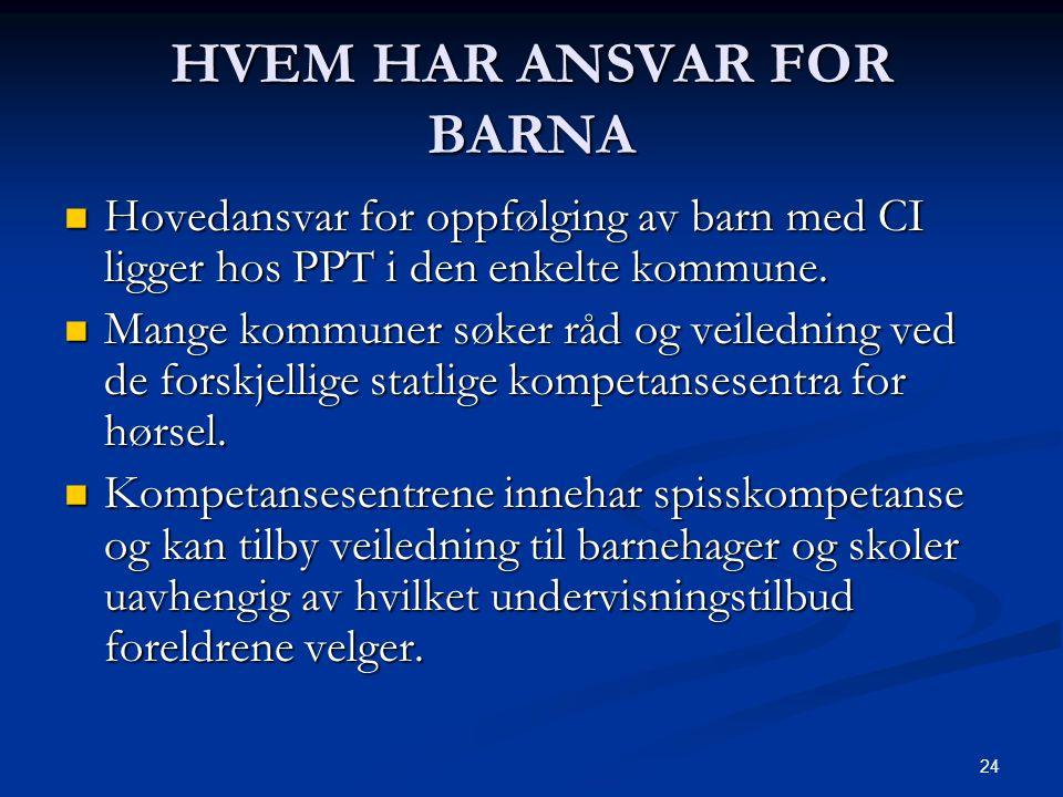 HVEM HAR ANSVAR FOR BARNA
