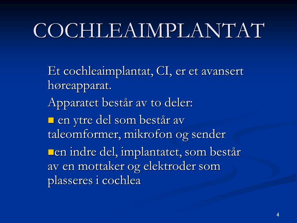 COCHLEAIMPLANTAT Et cochleaimplantat, CI, er et avansert høreapparat.