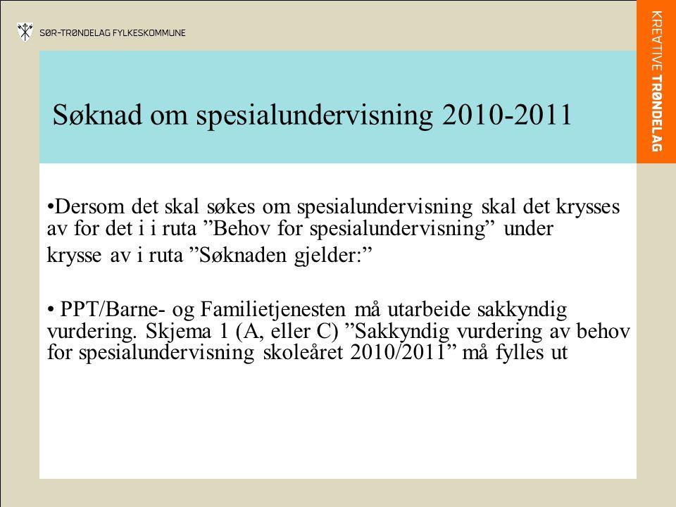 Søknad om spesialundervisning 2010-2011