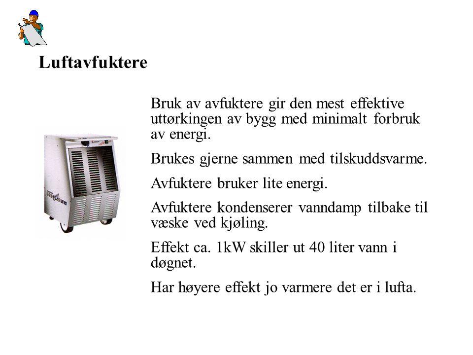 Luftavfuktere Bruk av avfuktere gir den mest effektive uttørkingen av bygg med minimalt forbruk av energi.