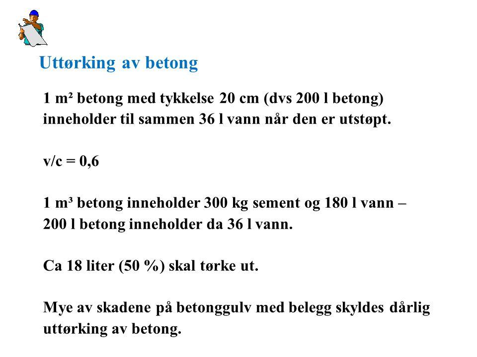 Uttørking av betong 1 m² betong med tykkelse 20 cm (dvs 200 l betong)