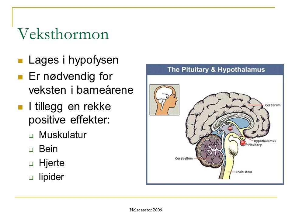 Veksthormon Lages i hypofysen Er nødvendig for veksten i barneårene