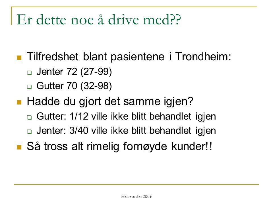 Er dette noe å drive med Tilfredshet blant pasientene i Trondheim: