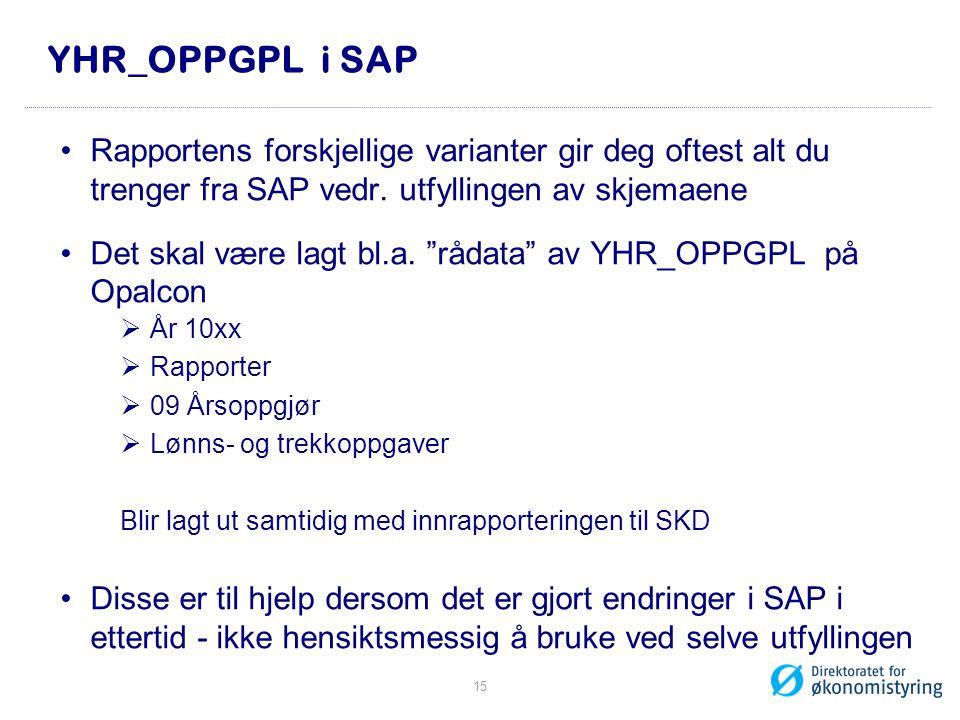 YHR_OPPGPL i SAP Rapportens forskjellige varianter gir deg oftest alt du trenger fra SAP vedr. utfyllingen av skjemaene.