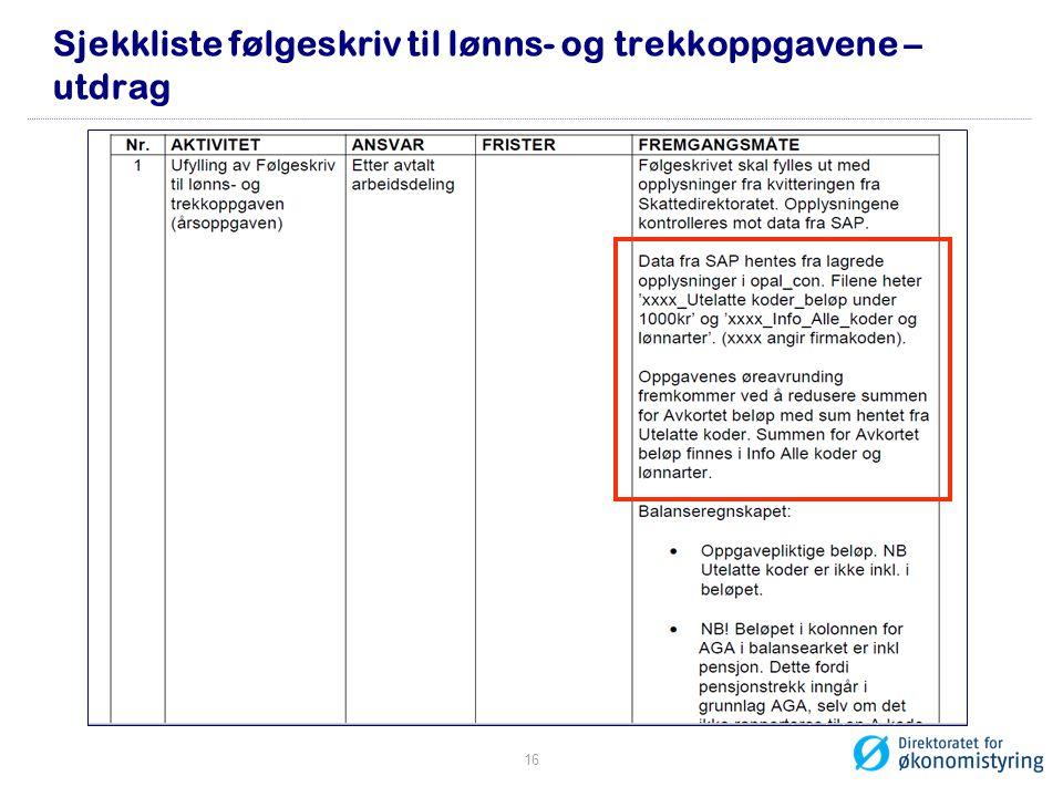 Sjekkliste følgeskriv til lønns- og trekkoppgavene – utdrag