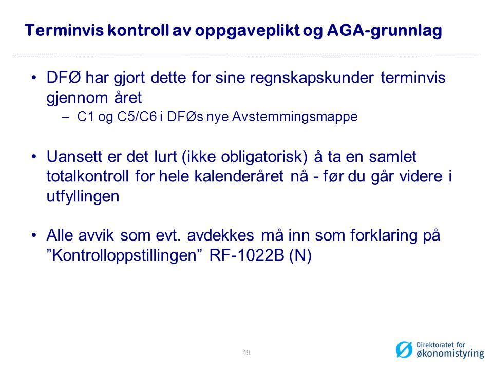 Terminvis kontroll av oppgaveplikt og AGA-grunnlag