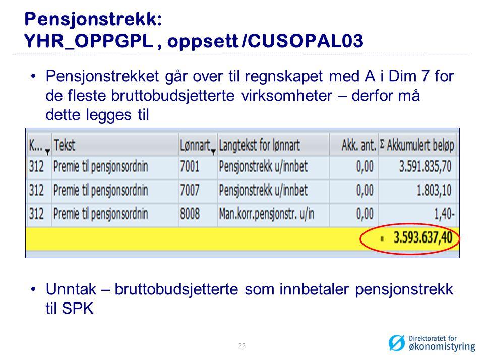 Pensjonstrekk: YHR_OPPGPL , oppsett /CUSOPAL03