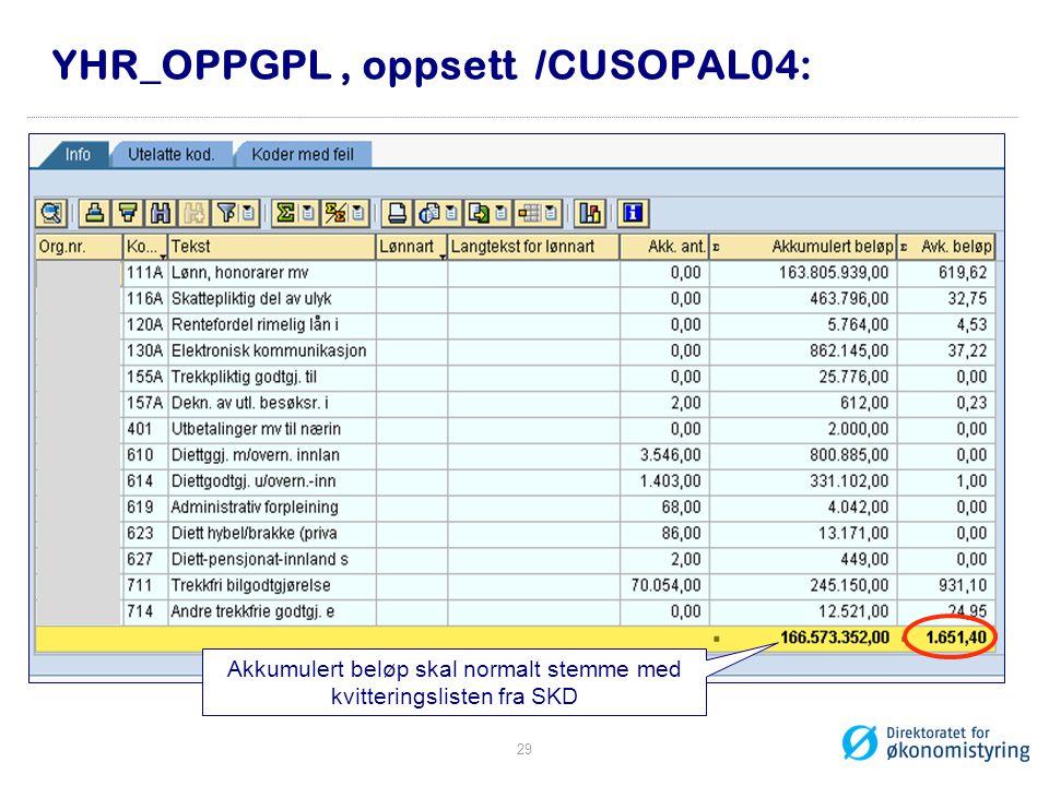 YHR_OPPGPL , oppsett /CUSOPAL04: