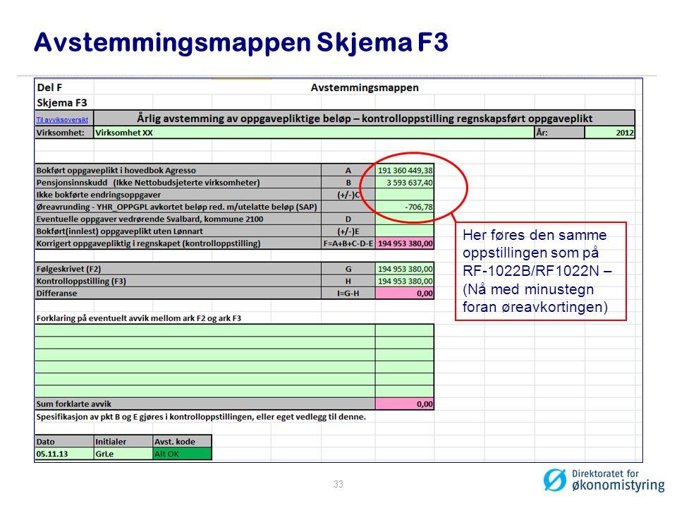 Avstemmingsmappen Skjema F3