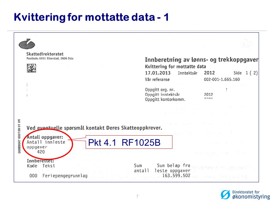 Kvittering for mottatte data - 1