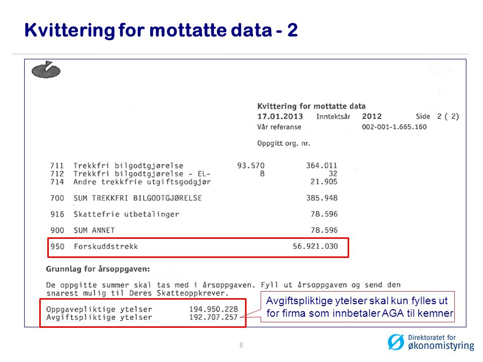 Kvittering for mottatte data - 2