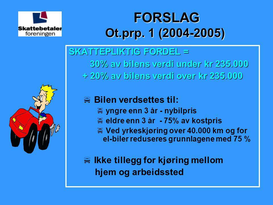 FORSLAG Ot.prp. 1 (2004-2005) SKATTEPLIKTIG FORDEL =