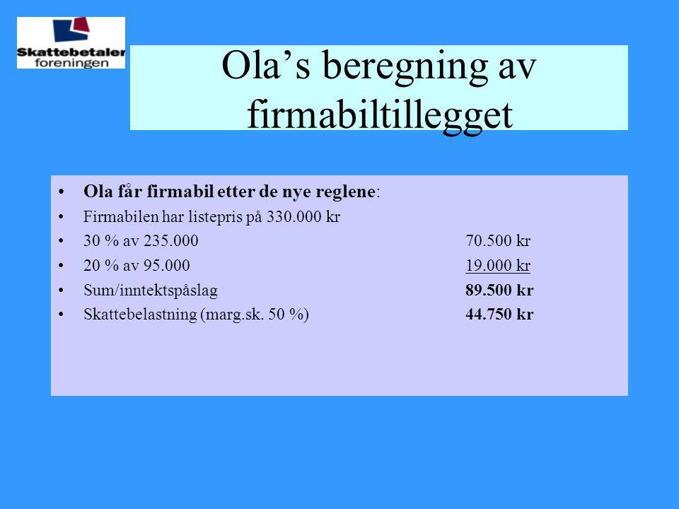 Ola's beregning av firmabiltillegget