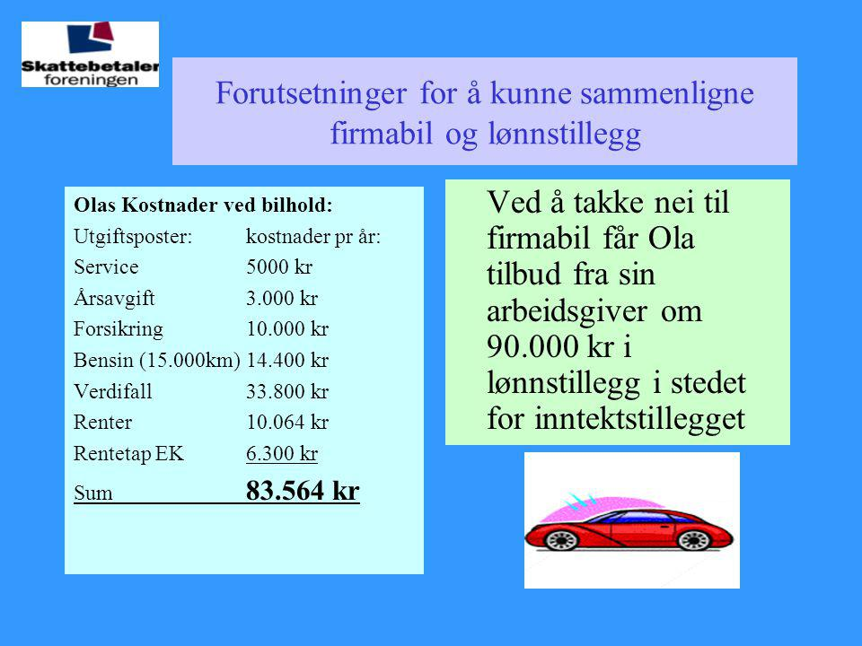Forutsetninger for å kunne sammenligne firmabil og lønnstillegg