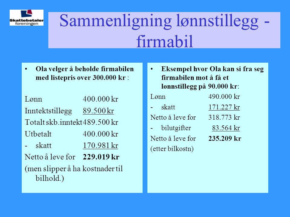 Sammenligning lønnstillegg - firmabil