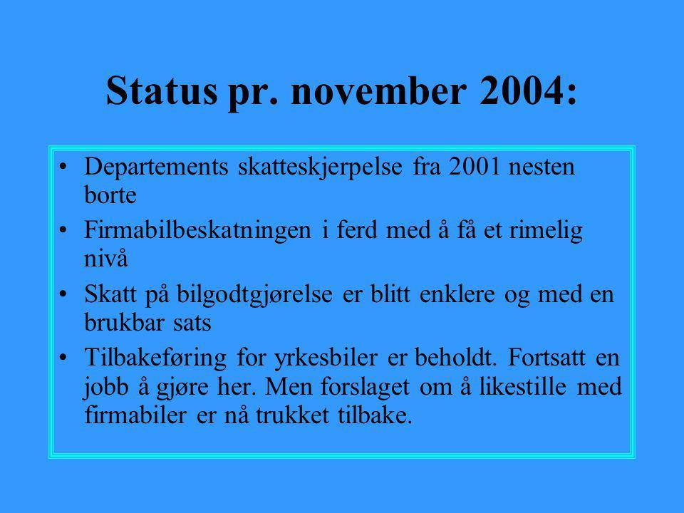 Status pr. november 2004: Departements skatteskjerpelse fra 2001 nesten borte. Firmabilbeskatningen i ferd med å få et rimelig nivå.
