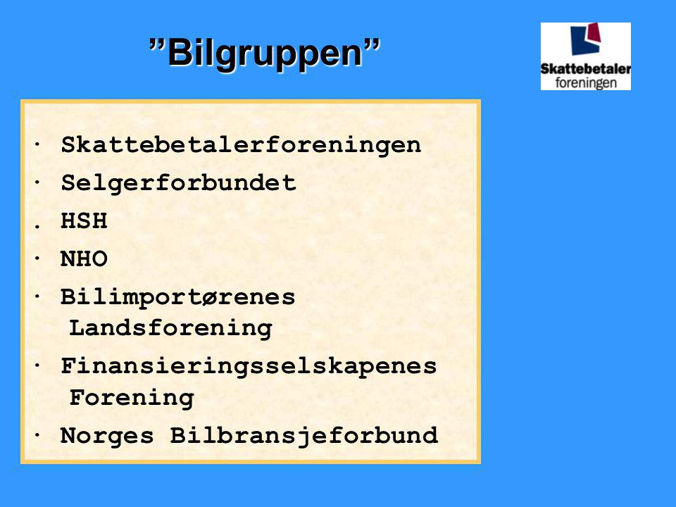 Bilgruppen · Skattebetalerforeningen · Selgerforbundet . HSH · NHO
